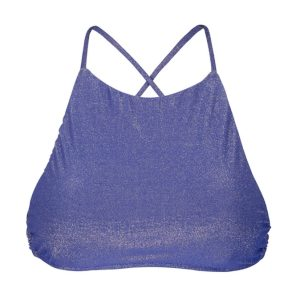 Dunkelblaues Lurex Bade Crop-Top, Racerback - Rio de Sol