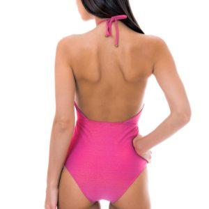 Rosa tief ausgeschnittener Lurex Badeanzug - Rosa sexy Badeanzug