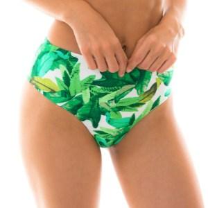 Grünes Bikinihöschen mit hohem Bund - Bottom Folhagem Hot Pant