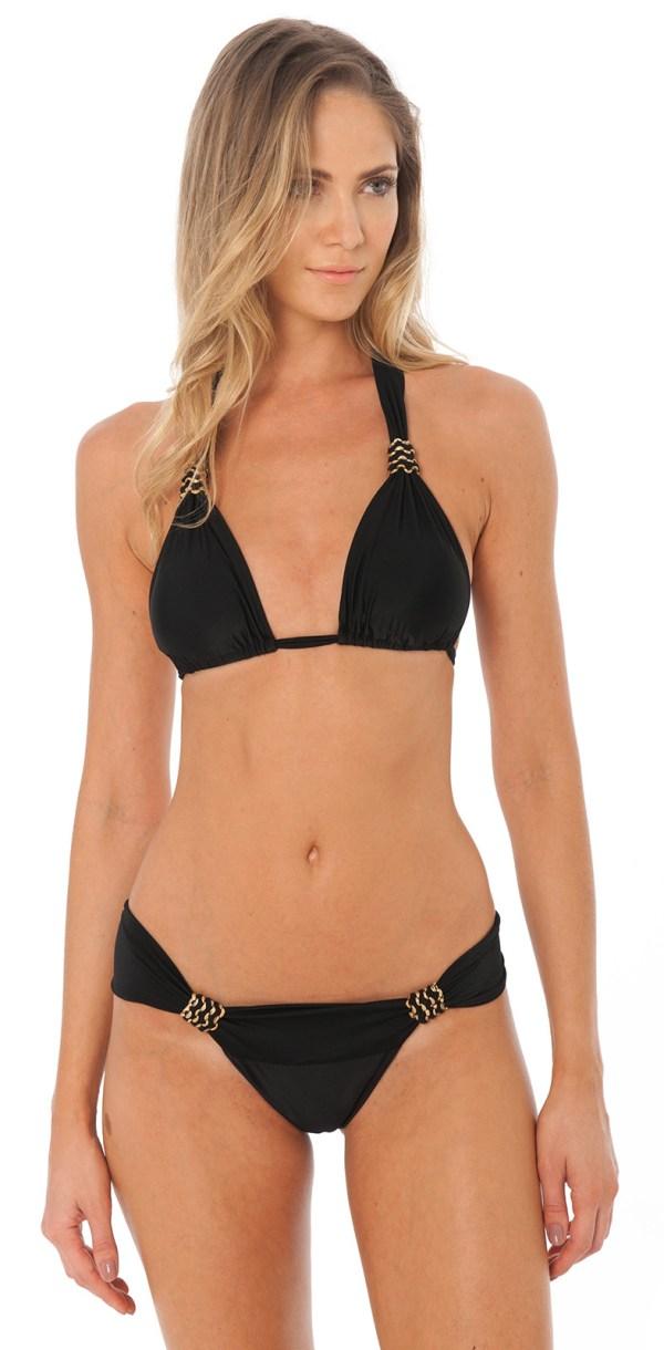 Schwarzer Luxus Triangel Bikini mit Faltenoptik - Venus Black