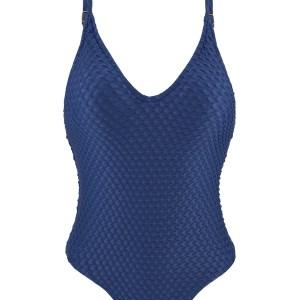 Blauer Texturierter Badeanzug, hoher Beinausschnitt - Kiwanda Denim Hype