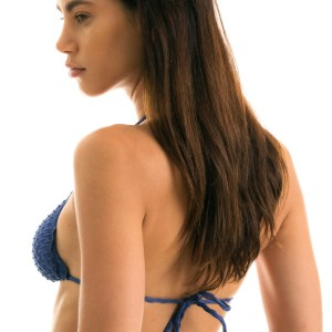 Sexy Bikini-Top blau, texturiert, gewellter Rand