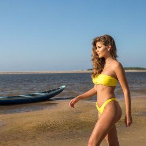 Brasil Bandeau Bikini zitronengelb, Sexy