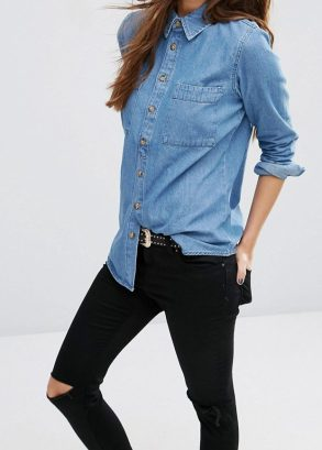 ASOS Denim Shirt in Marlin Retro Blue Wash
