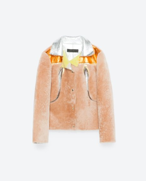 zara multicoloured faux fur jacket