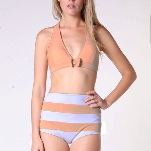ccacfadd64 Beige Nude Color Triangle Halter Top and Striped Stripes High Waisted Waist  Shorts Bottom Woman Women Handmade Swimsuit Swimwear Bikini set sets Two  piece ...