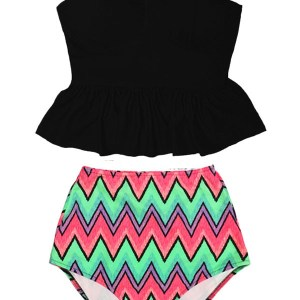1255987d50 Black Underwire Long Peplum Tankini Top and Colorful Chevron High waisted  waist Slimming Pin up Handmade Swimsuit Swimwear Bathing Suit Beachwear  Swimdress ...