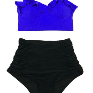 627600076f90b Blue Top and Black High Waisted Waist Highwaisted Highwaist Ruched Bottom  Women Womens Swim Bikini set sets Two piece Swimsuit Bath Bathing suit suits  ...