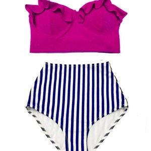 212534e0cdb25 Woman Women Womens Handmade Summer Bikini Two piece Swimsuit Swimwear  Bathing wear : Burgundy Mid Midkini Top and Strip Striped High waisted  waist rise ...