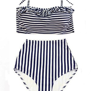 49d09379ad White Navy Blue Stripe Striped Halter Tie back Top and High waist waisted  rise cut High-waist Highwaist Highwaisted Bottom Two piece Bikini set  Swimsuit ...