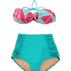 0bcd920590 Mosaic Bandeau Twist Top and Mint High Waisted Waist Shorts Bottom Summer Swimsuit  Bikini Two piece 2PC set Swimdress Swimwear Swim suit Beachwear S M