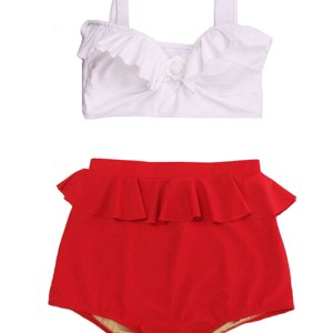 d68e08740a10a White Padded Top and Red Peplum High waisted waist rise Shorts Bottom  Handmade Woman Lady Adult Female Teen Swimsuit Swimwear Two piece Bikini  set Bathing ...