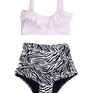 e66421ff31 Swimsuit Bikini Top White High waisted Bottom Shorts Zebra Print White Black