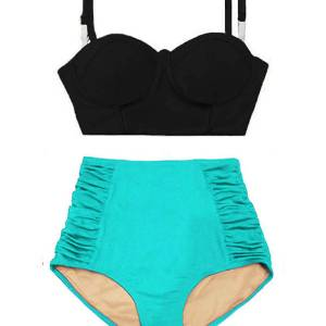3431e73556 Black Underwire Midkini Top and Mint Ruched High waisted waist Pin up  Slimming Bottom Handmade Designer Swimsuit Swimsuit Bikini Two piece set Bathing  suit ...