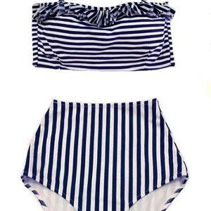 1ad1bae3b297b White Navy Blue Stripe Striped Stripes Tie back Top and High waist waisted  rise Bottom Handmade Retro Swimsuit Bikini Two piece Two-piece set sets  Swimwear ...