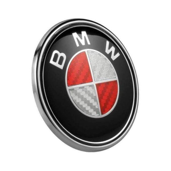 bmw röd kolfiber emblem