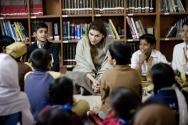 Shazia Atta Mari at governement School for a storytelling session #AlifAilan 1