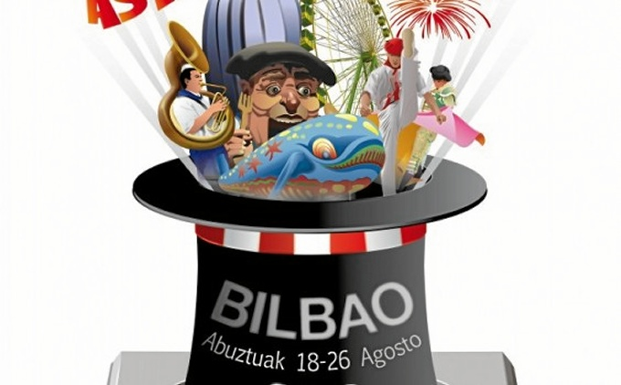 Cartel del concurso de fuegos artificiales de Villa de Bilbao 2015.