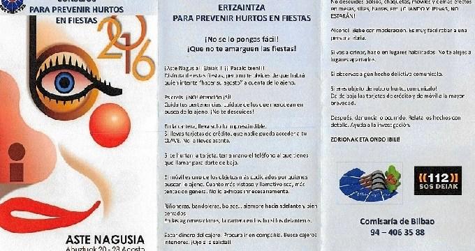 La Ertzaintza lanza folletos de recomendaciones para evitar los hurtos en la Aste Nagusia de Bilbao