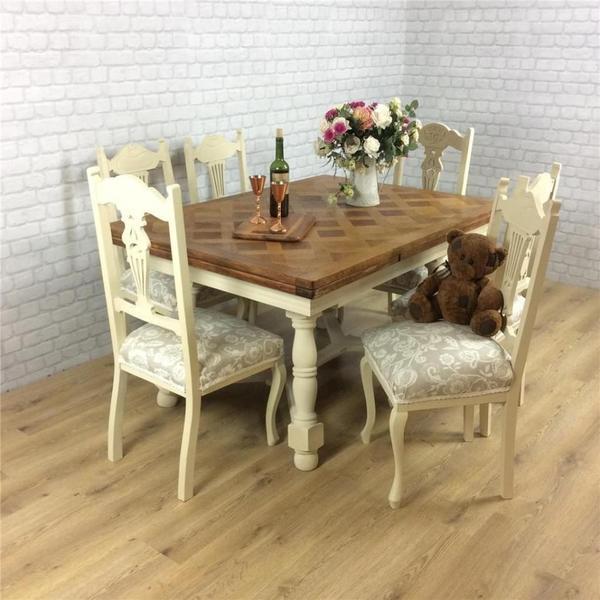 Shabby Chic Esstisch 6 Stühle feste antike Küche ...