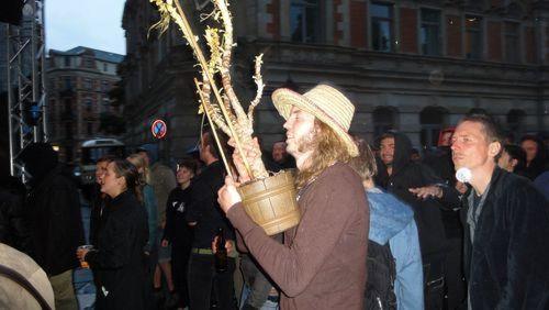 """Mann tanzt mit Pflanze beim """"Goldner Anker""""-Konzert"""