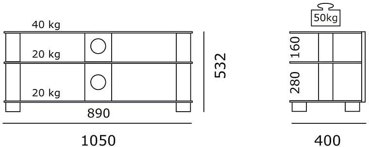 spectral tv rack just racks tv1053 breite 105 cm
