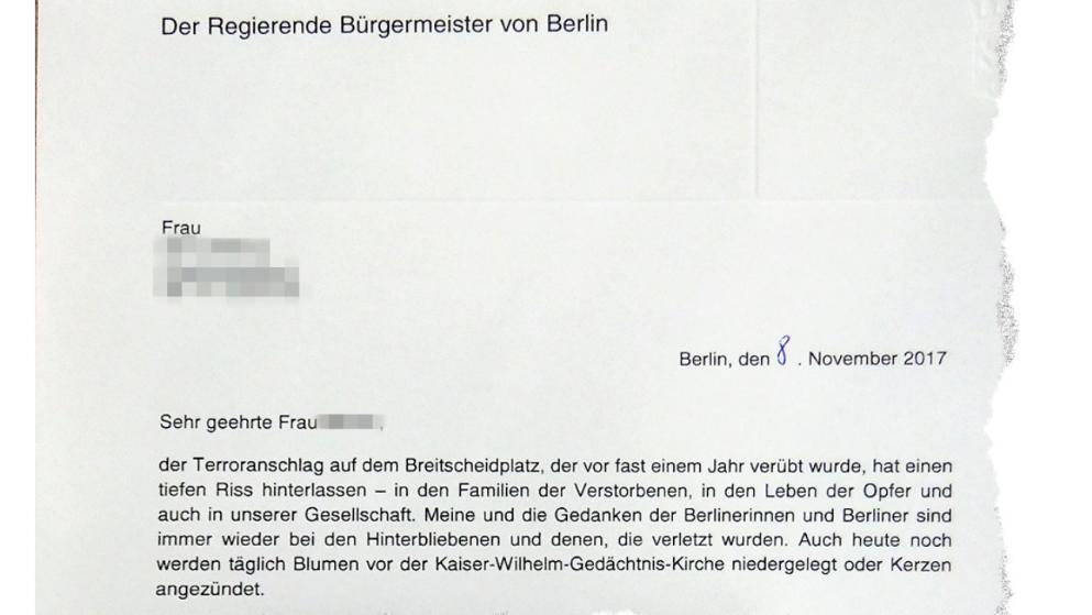 Das einfühlsame Schreiben des Berliner Bürgermeisters Michael Müller...