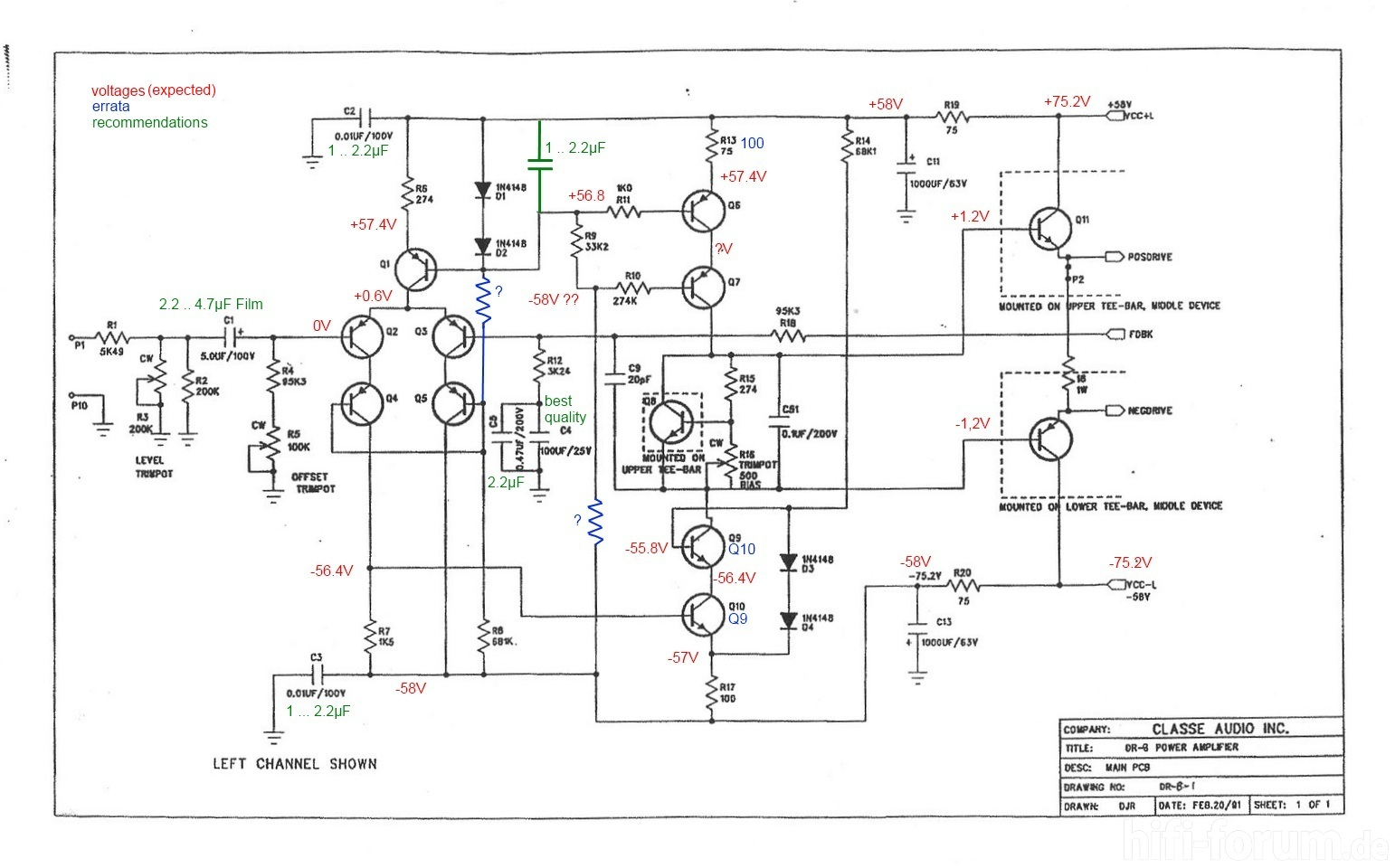 Classe Audio Dr 8 Schematic With Errata And Voltages