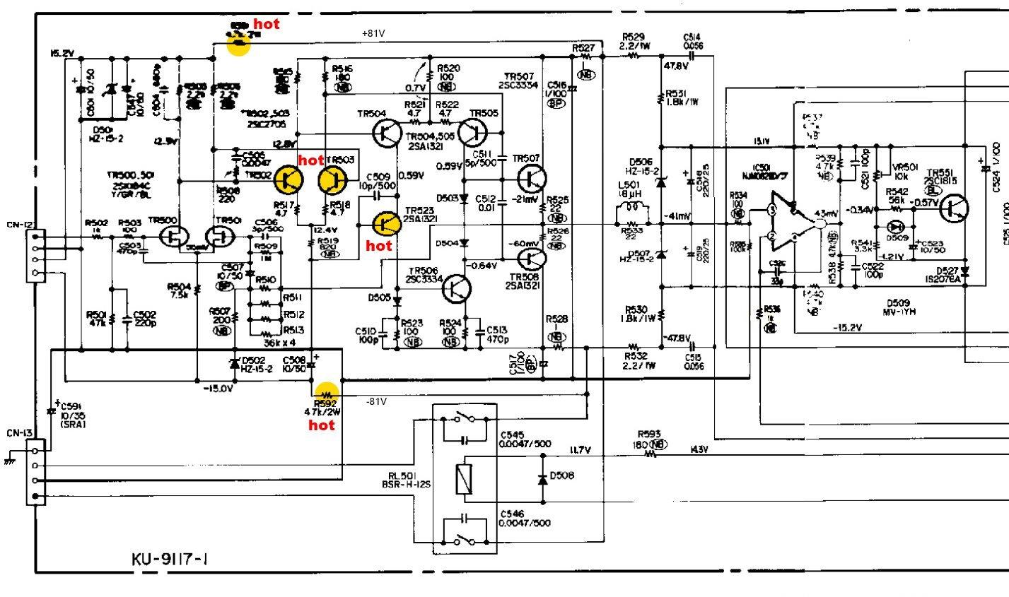 Denon Poa Schematic Detail Power Amp Hot Transistors