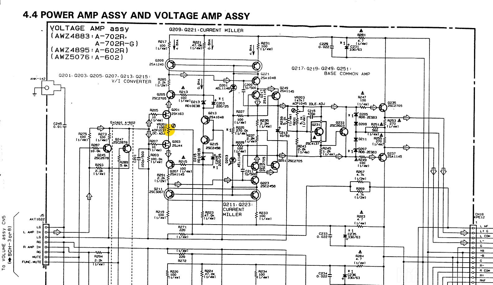 Pioneer A 702r Schematic Detail Power Amp Voltage