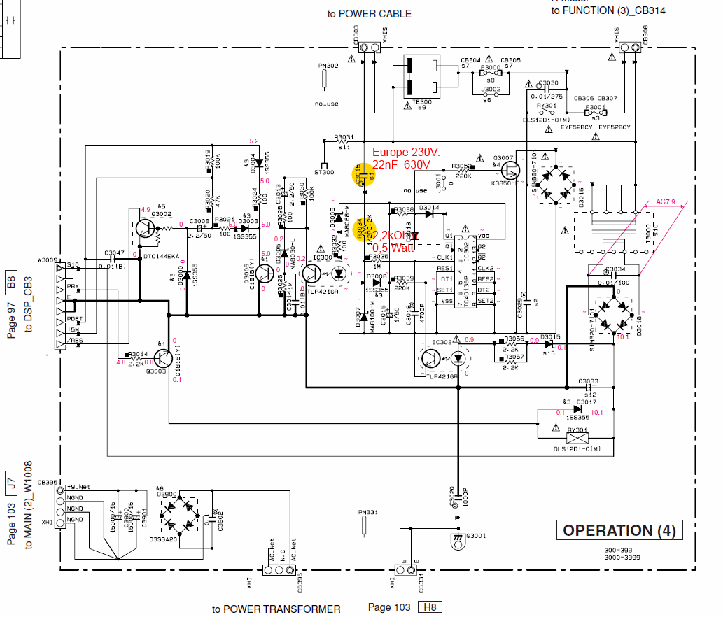 Yamaha Rx N600 Schematic Detail Standby Operation 4 Pcb