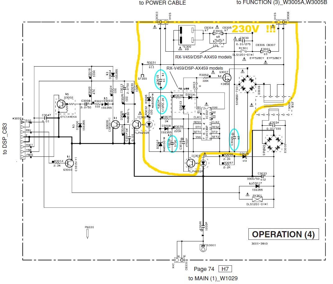 Yamaha Rx V459 Schematic Detail Power Operation 4 Pcb
