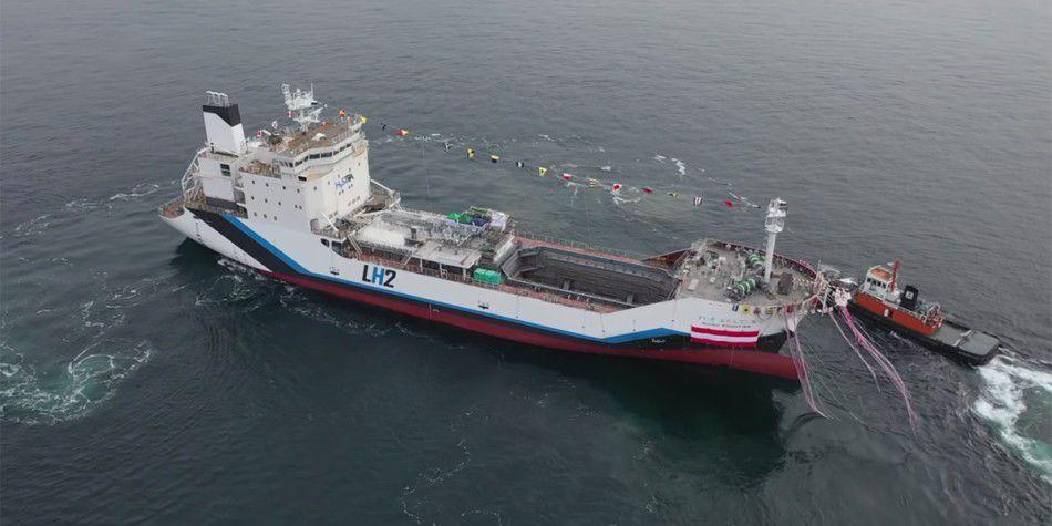 Weltweit erstes Wasserstoff Transportschiff kommt von Kawasaki