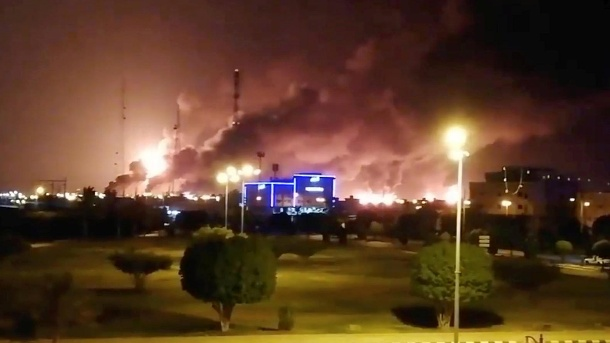 Smoke rising over a factory in Saudi Arabia: drone attacks severely damaged oil production facilities. (Source: Reuters)