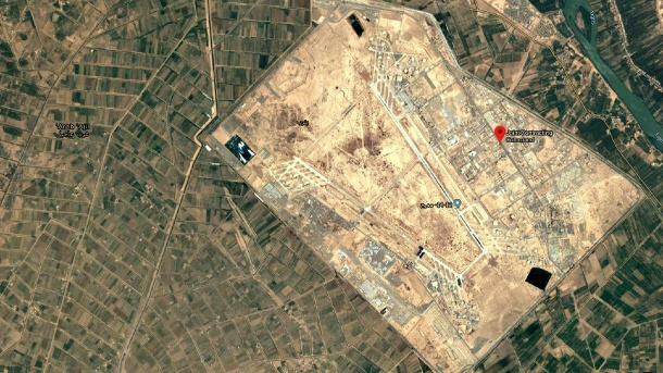 Balad Air Base north of Baghdad: Several projectiles hit the base on Sunday and injured several Iraqi soldiers. (Source: Google screenshot)