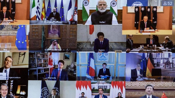 G20 conference call: The G20 countries are investing $ 5 trillion in the global economy. (Source: imago images)