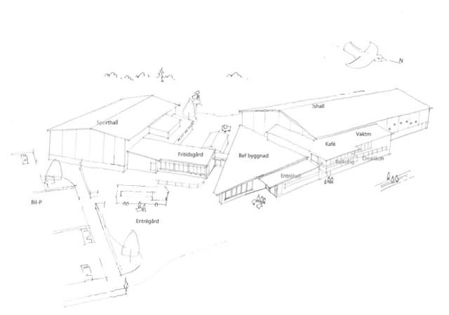 Utvecklingsskiss hur ett allaktivitets hus skulle kunna se ut vid Hedesunda idrottsplats. Bild: Gävle kommun/Arkitektgruppen i Gävle
