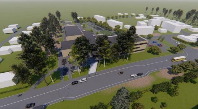 Illustration över hur nya Fridhemsskolan ska se ut, en större byggnad i två plan närmast Västerbågen lämnar utrymme för en större skolgård längre upp längs Almvägen.