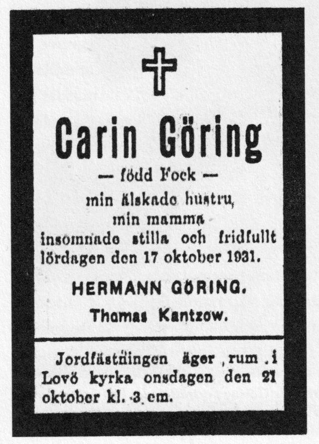 När Carin Göring avled 1931 annonserade hennes man i Gefle Dagblad.