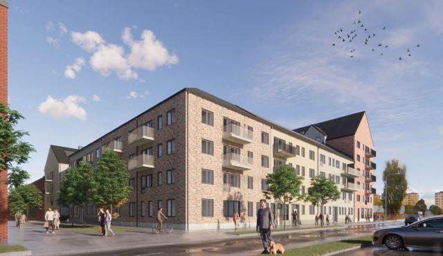 Vy från Styrmansgatan. Illustration: Riksbyggen