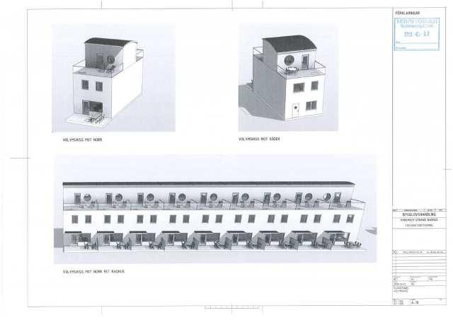 I en första omgång blir det nio radhus vid stranden, men Anders Högberg vill börja med fler radhus medan cementen torkar ut. Han betonar vikten av ordentlig uttorkning för att förebygga fuktskador. Illustration: privat.