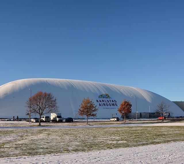Karlstad airdome används till fotboll. Foto; Karlstad airdome.