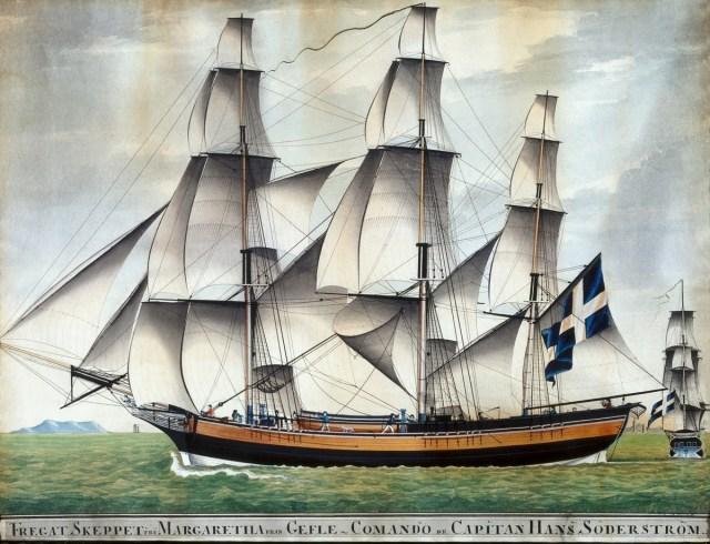Fartygstavla av briggen Fru Margareta. Foto: Länsmuseet Gävleborg