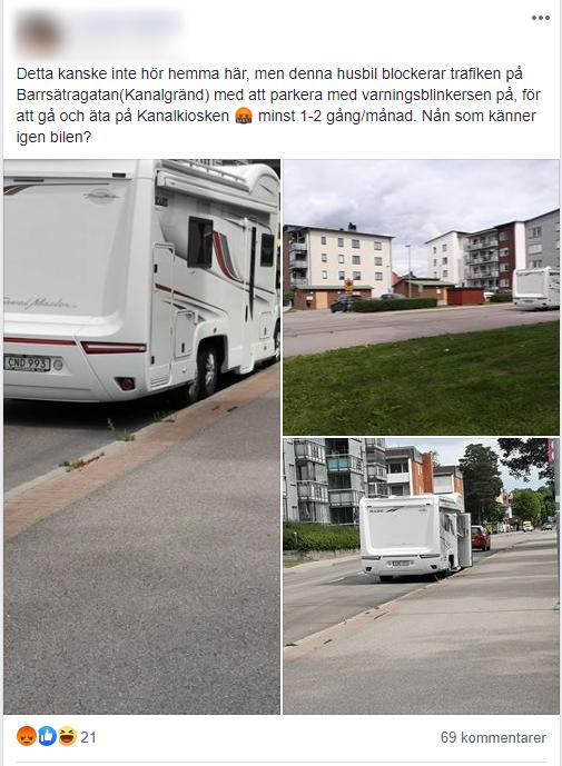 Skärmdump från en lokal Facebooksida visar var vaccinationsbilen stod parkerad. Foto: Skärmdump.