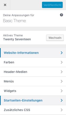 Bild des Customizerfensters im Rahmen von WordPress.