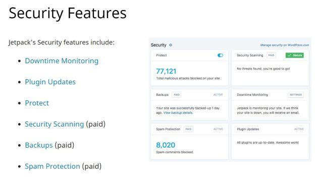 Screenshot der englischen Webseite mit einem Überblick der Sicherheitsfeatures des WordPress Plugins Jetpack.