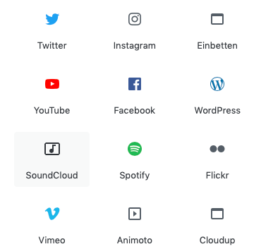 Screenshot der Auswahlmaske Einbettungsoptionen des Gutenberg Editors