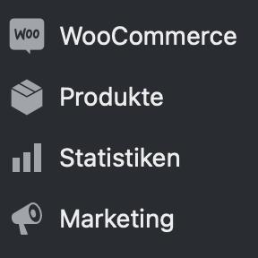 Dashboard Menüpunkte WooCommerce WordPress