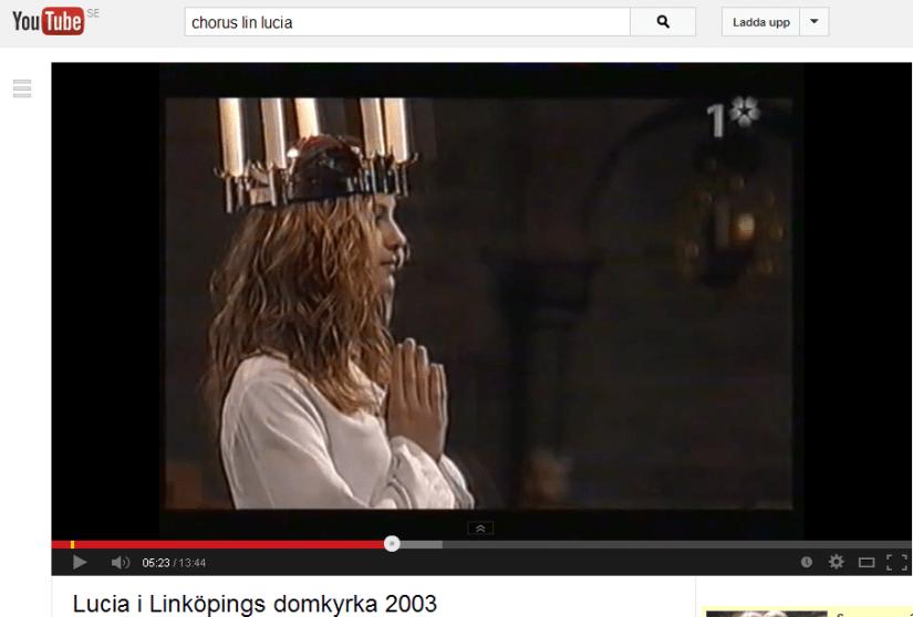 Skärmdump av video på YouTube från SVT-inspelningen av Luciahögtiden 2003 i Linköpings domkyrka.