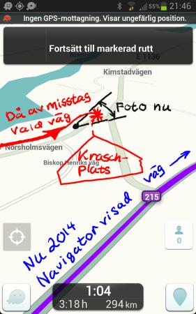 Skärmdump från navigatorappen Waze med min kraschplats då inga GPS-satelliter fanns.